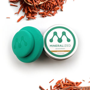 Sandalwood scented Mineralized Deodorant.