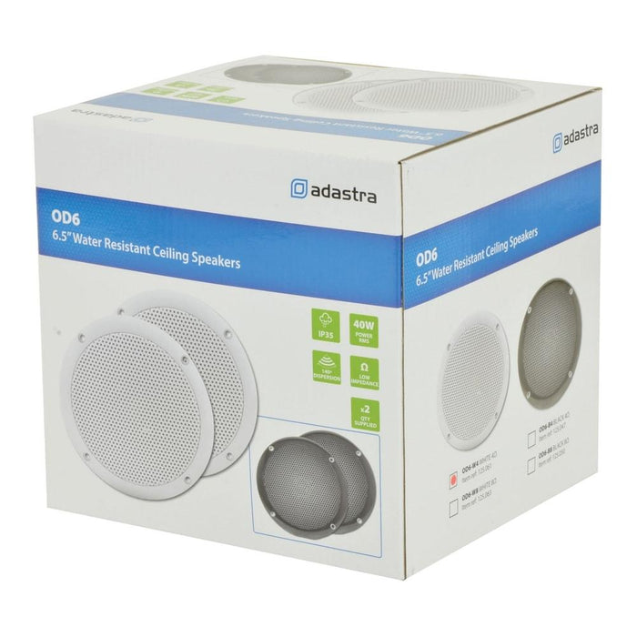 "Adastra OD6-W4 OD Series 100W 6.5"" Water Resistant Ceiling Speakers (Pair) - Tech4"