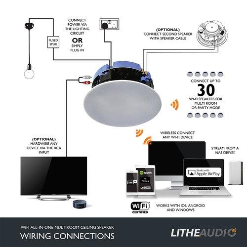 "Lithe Audio All-In-One 6.5"" WiFi Multi Room Ceiling Speaker - Tech4"