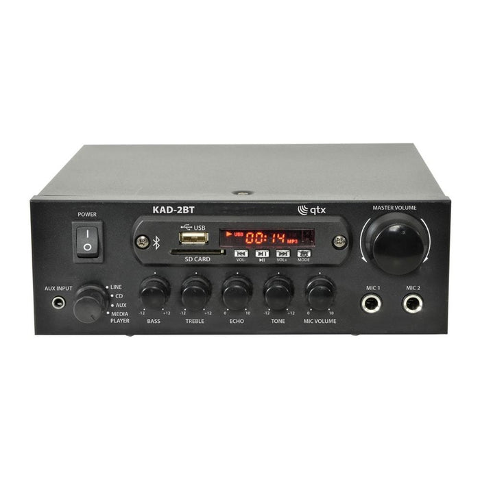 QTX KAD-2BT Digital Stereo Amplifier with Bluetooth, FM Radio & SD Card - Tech4