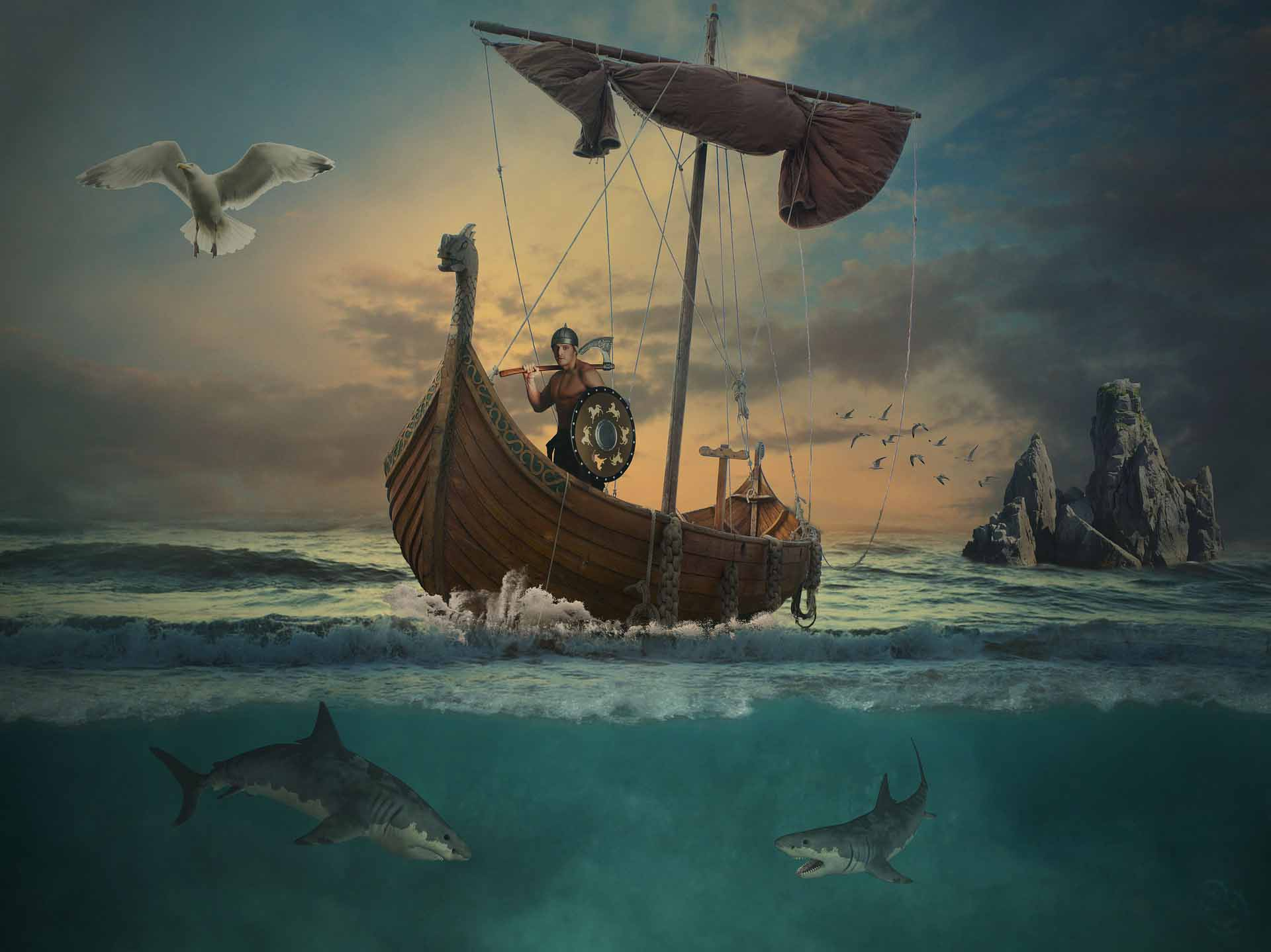 """Inspirational People – For Inspirational Times: Leif Erikson - strange to think that this is an actual photograph of Leif being blown off-course after buying his ship from a dodgy dealer when he saw an advert in 'Longboat Trader'. Hey Leif, """"Should have bought a bigger boat""""!"""