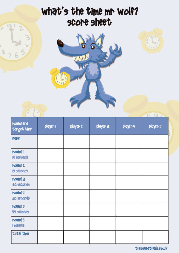 Traditional Children's Games for a Car Journey - What's the time Mr Wolf score card
