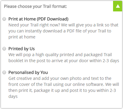 Gifts for Father's Day - Please choose your Trail format options
