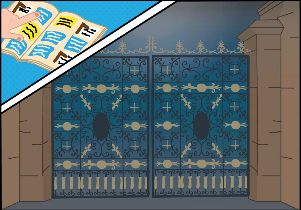 The Treasure Trails Mystery Halloween Puzzle - A set of large wrought iron gates came into view