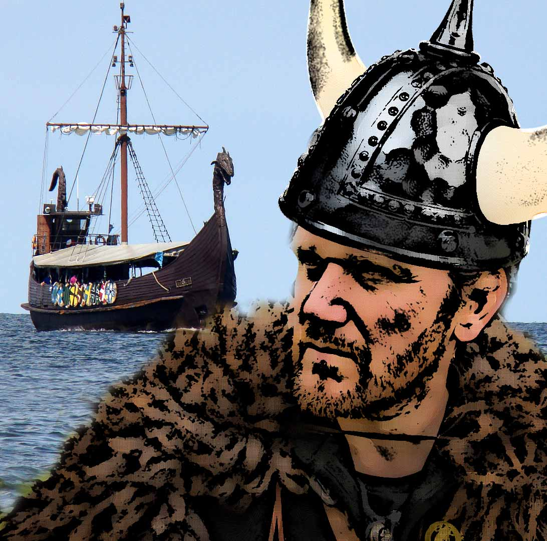 Leif Erikson - Please note - the image may or may not be historically accurate. The giveaway? Navigation beacons and modern lights on the longboat mast of course. Modern health and safety rules, what are they like, eh?