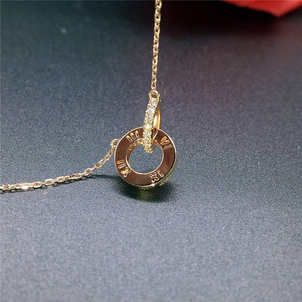 100% 18K Rose Gold Classic Double Circle Necklace Link Chain - AVstuff
