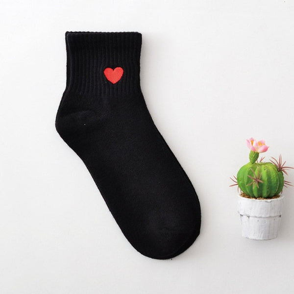 Women White Harajuku Cute Socks Hipster Skateboard Ankle Funny Socks Embroidery Coke Girl Killer Cactus Love - AVstuff