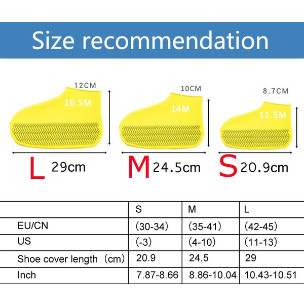 Waterproof Shoe Cover Silicone Material Unisex Shoes Protectors Rain Boots for Indoor Outdoor Rainy Days - AVstuff