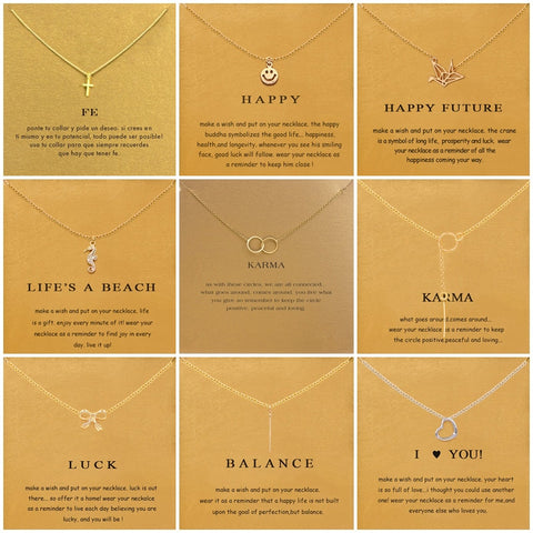 9 Styles Cross Thousand Paper Crane Pendant Necklace Minimalist Chain Choker Necklaces Gift Card Jewelry