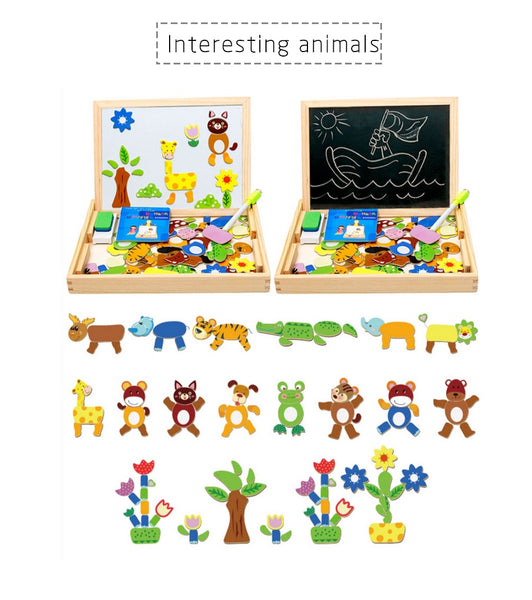 100+Pcs Wooden Magnetic Puzzle Learning Toys