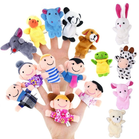 10 PCS Cute Cartoon Finger Puppet Plush Toys