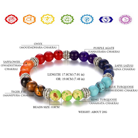 100% all Natural Stone Beads 7 Chakra Bracelet