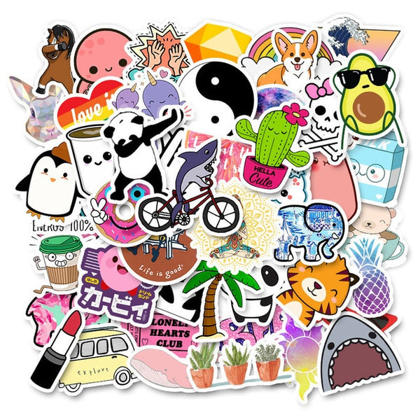50 PCS Cartoon Simple Stickers - AVstuff