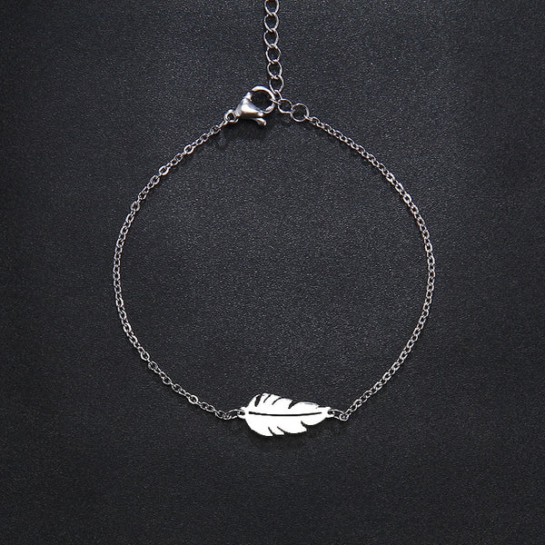 Stainless Steel Bracelet Feather Effect - AVstuff