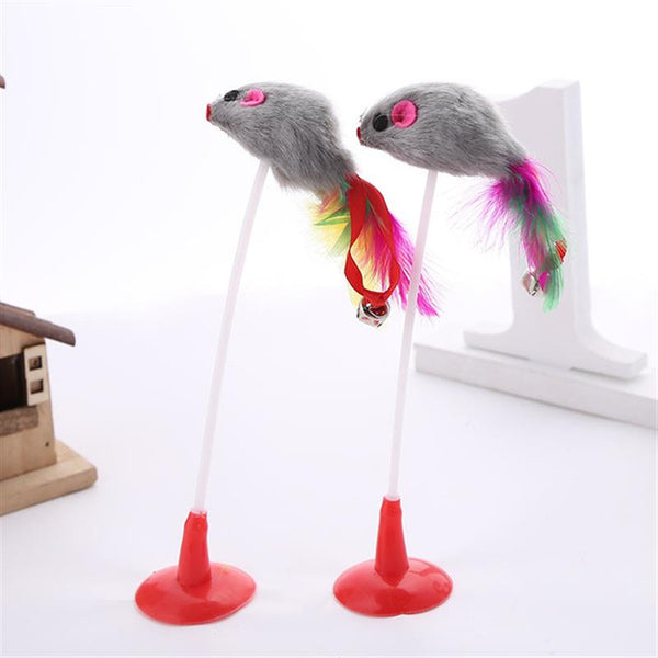 Cat Interactive Toy Stick Feather Wand With Small Bell Mouse Cage Toys Colorful Cat Teaser - AVstuff