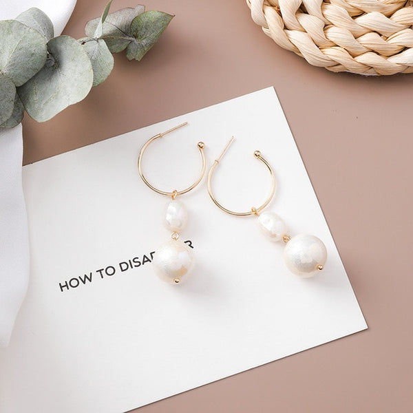 Pearl Shell Metal Elegant Long Tassel Drop Earrings