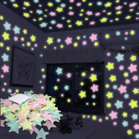 100pcs 3D Night Glow in the Dark Stars Stickers