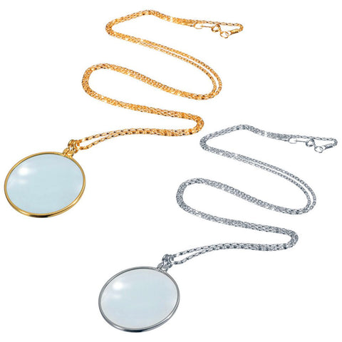 Decorative Monocle Necklace With 5x Magnifier Magnifying Glass Pendant Gold Silver