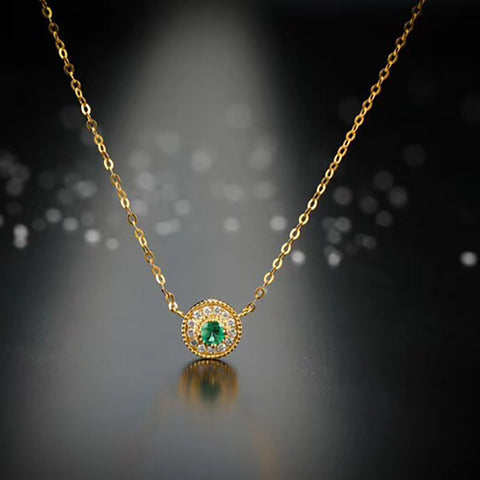 18K Yellow Gold Real Diamond IJ SI Natural Emerald