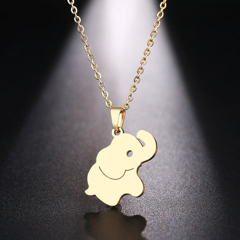 Stainless Steel Necklace Cute Little Elephant Gold And Silver Color