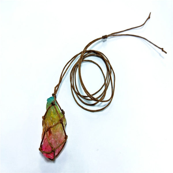 Chakra Rainbow Natural Stone Copper Wire Pendant Necklace Tree of Life - AVstuff