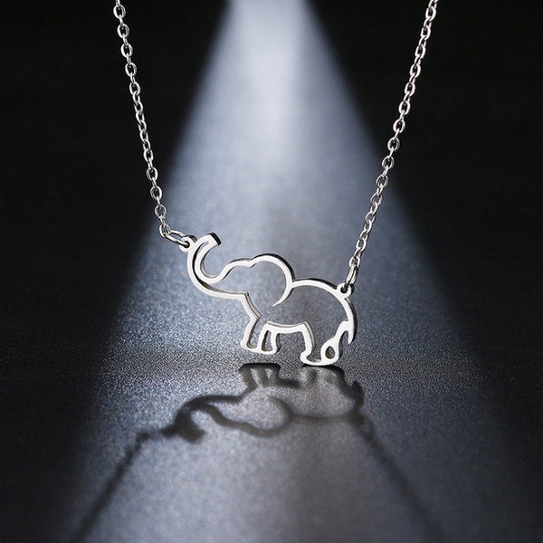 Stainless Steel Necklace Origami Elephant Pendant Necklaces