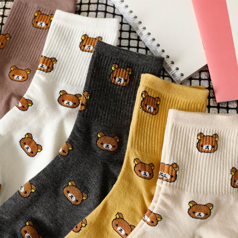 Cartoon Combed Cotton Socks Funny Bear 5 colors Lovely Animal Pattern Casual Sock