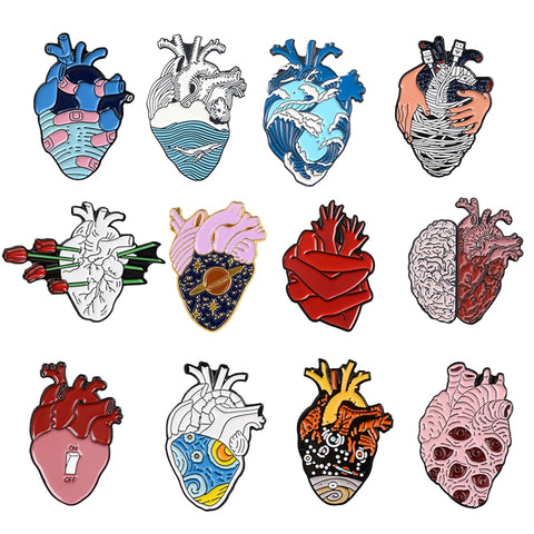 19style Anatomical Heart Enamel Pins