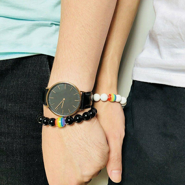 Unisex Rainbow Flag Ball Natural Stone Black Onyx Bracelet - AVstuff