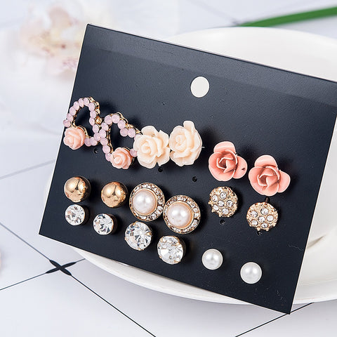 Elegant and Cute 9pair/set Flower Pearl Earring