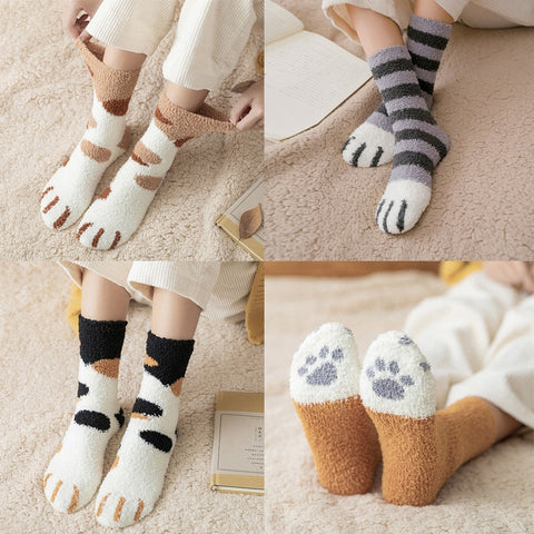 Casual women socks plush coral fleece female socks cat claws cute thick warm funny