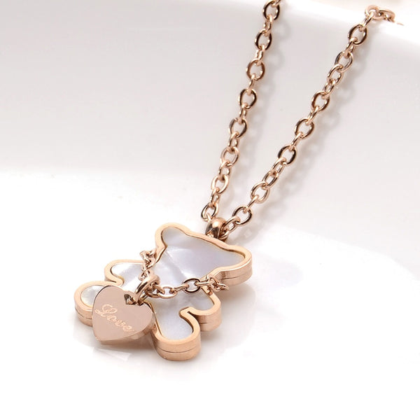Stainless Steel Women Necklace Bear Love Rose Gold Color Nature Sea Shell Choker Necklace - AVstuff