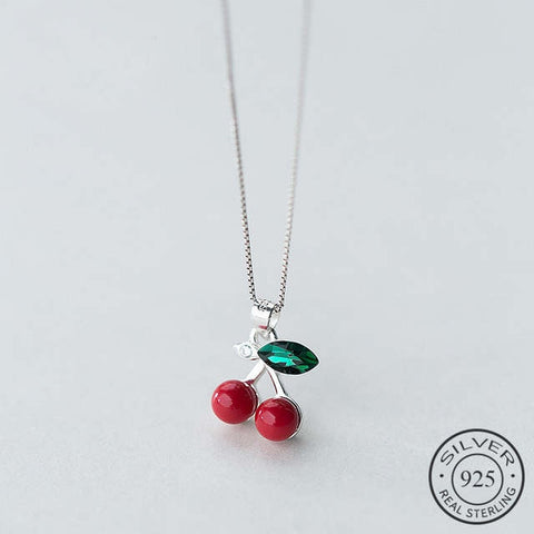 925 Sterling Silver Pendant Necklace Green Crystal Red Pearl Cherry