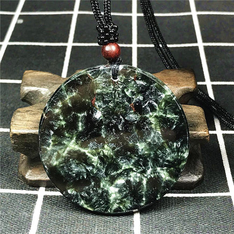Natural Seraphinite Pendant Necklace 52x5mm Round Beads Gemstone Adjustable Rope - AVstuff
