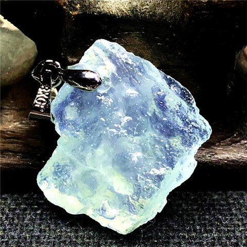 Real Natural Ocean Blue Aquamarine Gemstone Pendant Clear Silver 20x16x7mm - AVstuff