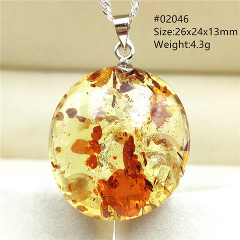 Natural Yellow Piebald Amber Necklace Pendant Flower Rare Inclusion Fashion Gemstone Crystal Healing - AVstuff