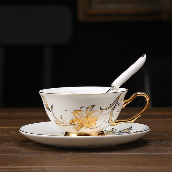 Europe Noble Coffee Cup Saucer Spoon Set 200ml Luxury Ceramic Mug Top-grade Porcelain Cup - AVstuff