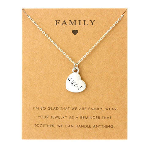 Aunt Sister Uncle Pendants Chain Necklaces Grandma Grandpa Family Mom Daughter Dad Father Brother Son Fashion Jewelry Love Gift