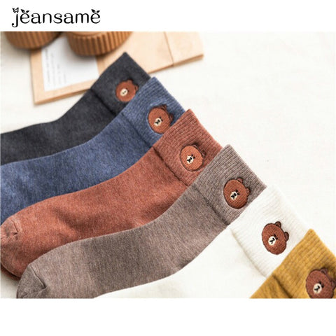 Cartoon bear embroidery cotton wild trend comfortable sweat funny socks