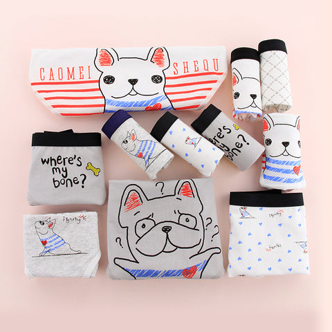 Animal Cute Pug Cartoon Panties Girls Cotton Underwear Women Soft Physical Pant Seamless Briefs