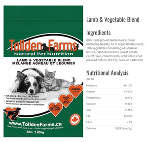 Tollden Farms Natural Pet Nutrition | Raw Food | 8lb (16 x 1/2lb)
