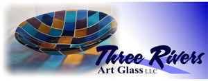 "15"" fused glass bowl made with Youghiogheny Y-96 Glass. Three Rivers Art Glass logo"