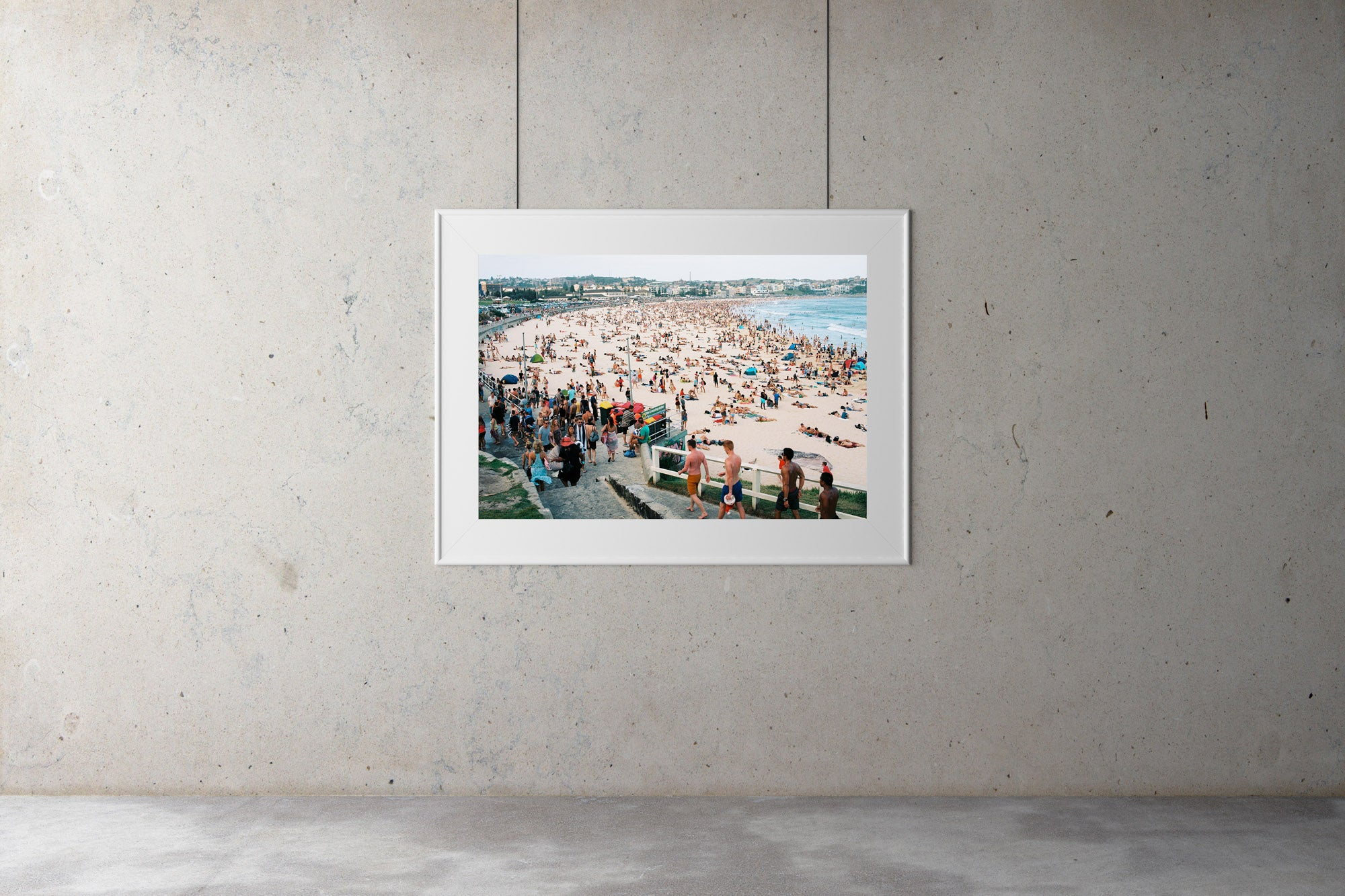 """A photo of New Years day at Bondi Beach, Thousands of people on the beach & in the water. People cue to have a shower in a long line. People are wearing bathers, it's a hot day in Sydney Australia"".  Artwork Prints, wall art,  travel Australia, Photographic prints,  Framed artwor,k Beach, Photography Photography for sale Film photography Vintage photo style,  Interior design, Film photography, film photography, Bondi beach Sydney, Street photography prints,"