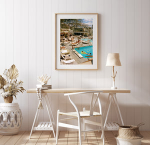 People lay around a 1950's style swimming pool on a hot day, blue sky with clouds, Artwork, Prints, wall art, California, Photographic prints, Ocean Palm Springs, Framed artwork, Photography,  Film photography, Vintage photo style,  Interior design, beach, buy Art, photography art, buy art, ace hotel, Prints for sale, art prints, colour photography, surfing, surfboard, Malibu, Malibu,  surfing, sun, beach, sun baking, mid century