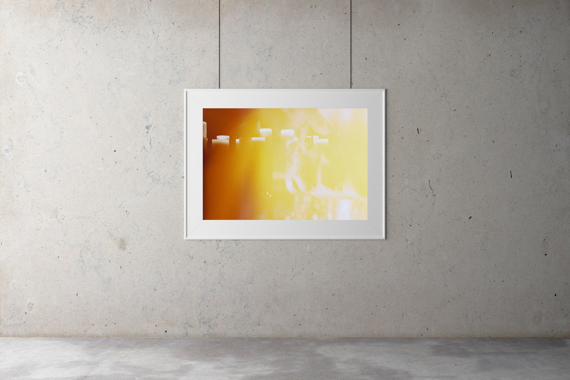 A photograph of a shelf with white candles. The candles are thick & round in shape. There is a lovely orange & yellow glow to the photo. There are white flames in the image, This is because it is a double exposure photograph. Artwork Prints wall art,  Melbourne, travel ,Australia Photographic prints, music festival, fine art, Framed artwork, Australian,  Photography, Photography for sale, Film photography, Vintage photo style,  Interior design, Film photography, Pictures,  art, film photography,