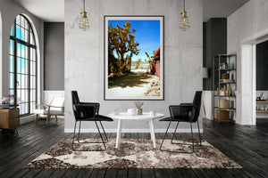 A room with a picture. A photographic print of the joshua treem motel california, swimimg pool at joshua tree's Artwork, Prints wall art California Photographic prints Ocean Palm Springs Framed artwork, Photography,  Film photography, Vintage photo style,  Interior design, beach, Buy Art, photography art, Joshua tree print, Joshua tree, buy art, Prints for sale, art prints, color photography