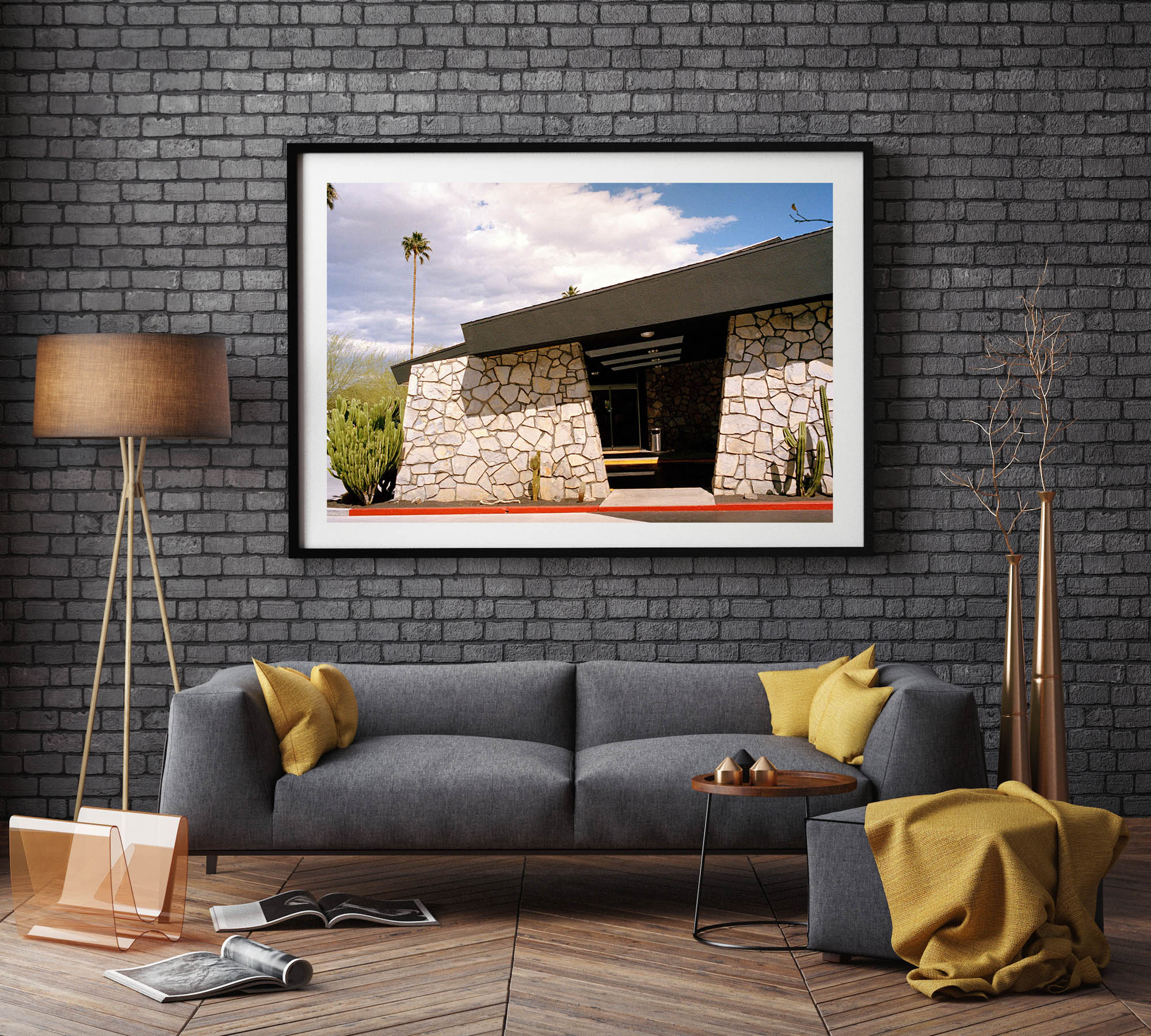 A photography of the Ace Hotel stone wall in Palm Springs. A retro mid century building. Retro, mid century, Artwork, Prints wall art California Photographic prints Ocean Palm Springs Framed artwork, Photography,  Film photography, Vintage photo style,  Interior design, beach, Buy Art, photography art, buy art, Prints for sale, art prints, colour photography, surfing, surfboard, Palm Springs,  surfing, sun, beach,