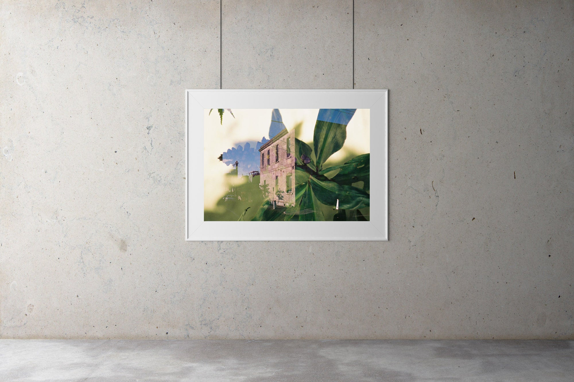 """A double exposure picture showing an old building covered in beautiful  green flowers, plants & trees"". Vintage photo, style Interior design, Pictures Abstract film photography, double exposure, green flowers,"