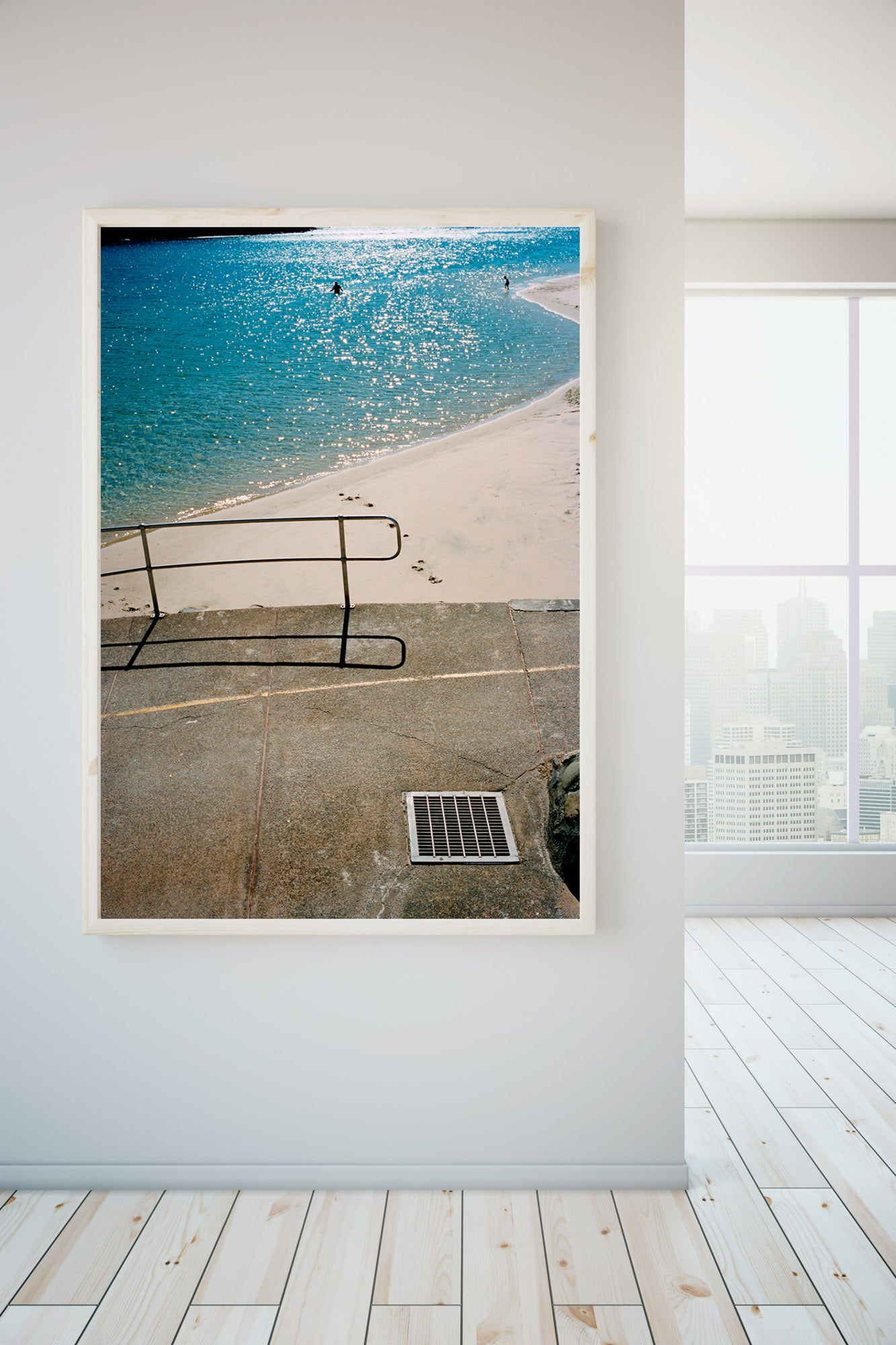 """A photograph of a blue river with people swimming, a pavement & rallying in the foreground of the photo. White sand and & water. The photo is in portrait orientation."" Artwork, Prints, wall art, GoldCoast Queensland Australia, Photographic prints, Ocean Beach, Framed artwork, Beach Posters   Film photography, Vintage photo style,  Interior design, Film photography Pictures sun & surf,"