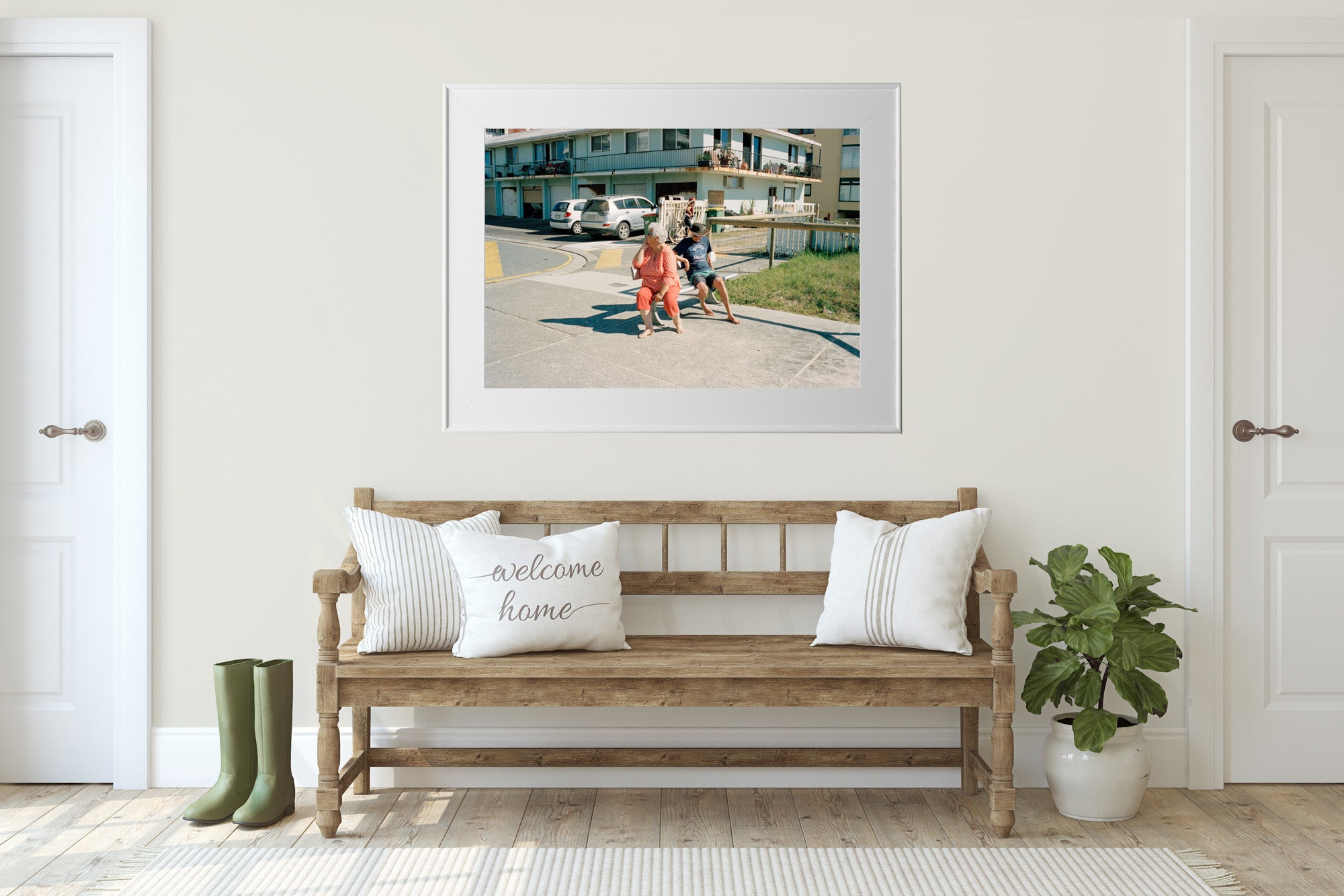 """A photograph of an elderly couple sitting on a bench near the beach, they are looking away from each other, there are old building in the background."" Artwork, Prints, wall art, GoldCoast Queensland Australia, Photographic prints, Ocean Beach, Framed artwork, Beach Posters   Film photography, Vintage photo style,  Interior design, Film photography Pictures sun & surf,"